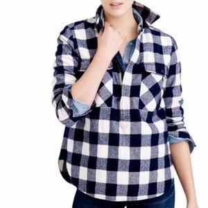 J Crew Size Med Buffalo Check 1/2 Zip Shirt-Jacket